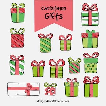 Set von hand gezeichneten weihnachtsgeschenke