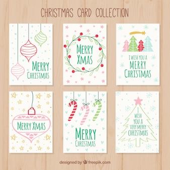 Set von hand gezeichneten weihnachtskarten