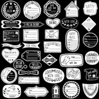 Set von handgemachten briefmarken
