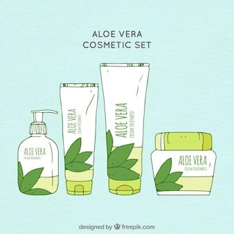 Set von handgezeichneten aloe vera kosmetik