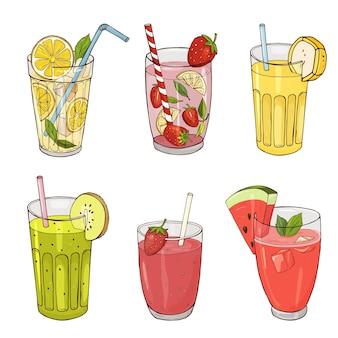 Set von handgezeichneten erfrischungsgetränken und cocktails