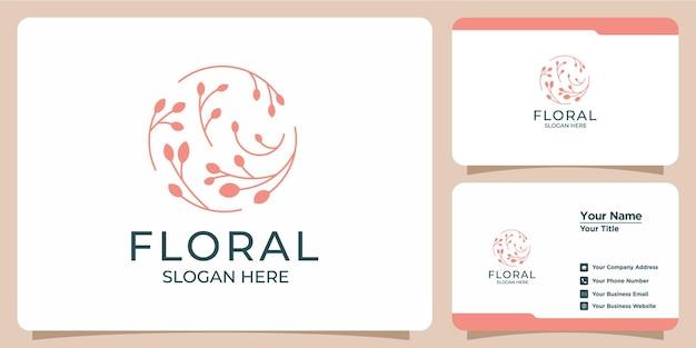 Set von handgezeichneten floralen logo-vorlagen für schönheits- und visitenkarten