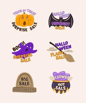 Set von handgezeichneten halloween-etiketten mit gruseligen elementen