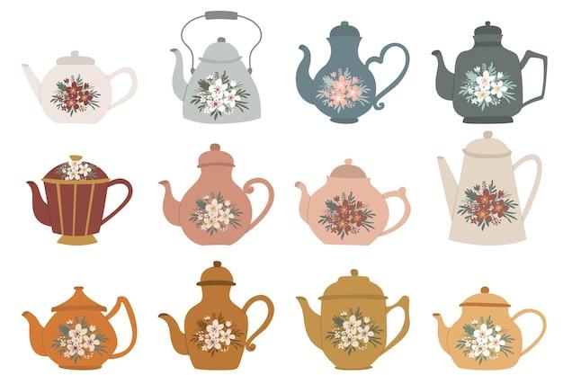 Set von handgezeichneten teekannenkessel-cliparts mit blumenstraußdekoration