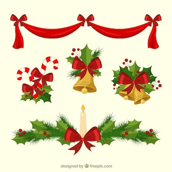 Set von handgezeichneten weihnachtsschmuck