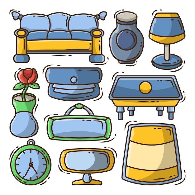 Set von handgezeichneten wohnzimmer-cartoon-doodle-bündel