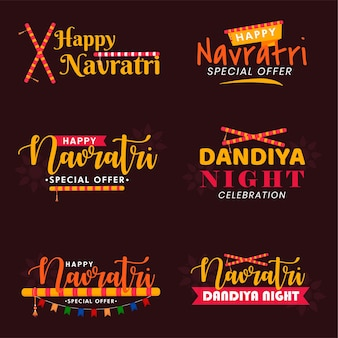 Set von happy navratri indian festival emblem