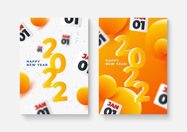Set von happy new year-postern, grußkarten, urlaubsabdeckungen. frohe weihnachten-design-vorlagen mit typografie, saisonwünsche im modernen minimalistischen stil für web, social media. vektor-illustration.