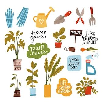Set von heimgartengeräten isoliert
