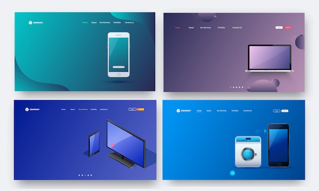 Set von heldenschüssen mit futurstic gadgets.