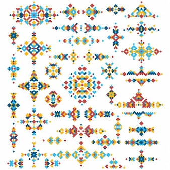Set von hellen geometrischen stammes-design-elemente