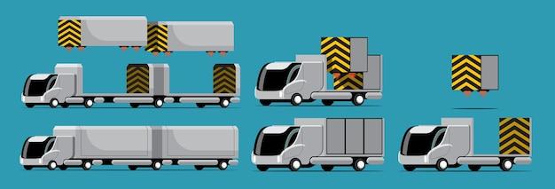 Set von high-tech-lkw und container mit modernem stil