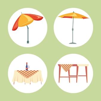 Set von hinterhof- und picknick-icons