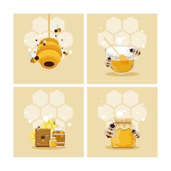 Set von honig und bienen
