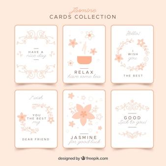 Set von hübschen karten mit blumen