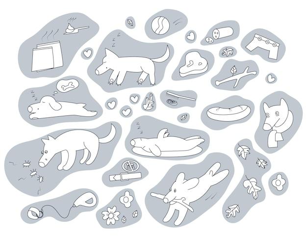 Set von hunden, die nickerchen machen, sich krank fühlen und haustierzubehör elemente für die hundepflege
