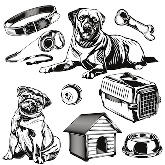Set von hunden und seinen spielzeugelementen