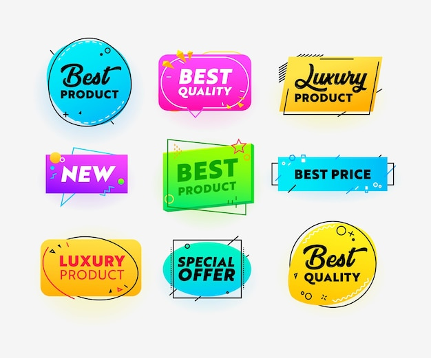 Set von icons beste qualität, ausgezeichnete produkt-werbebanner im kreativen trendigen stil mit geometrischen formen auf weißem hintergrund. zertifikate für marketingförderung, werbung. vektorillustration
