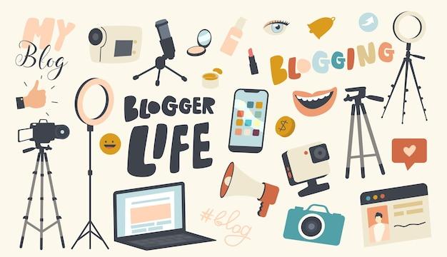 Set von icons blogger life theme. videokamera, lichtequipment, laptop und fotokamera, smartphone, lächelnder mund und stativ für handy, lautsprecher oder mikrofon. lineare vektorillustration