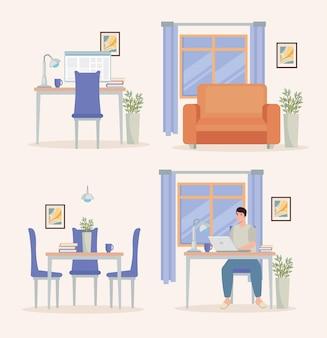 Set von icons für freiberufliche arbeit Premium Vektoren