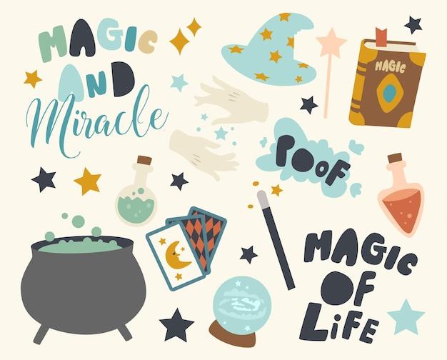 Set von icons illusionist oder magier theme