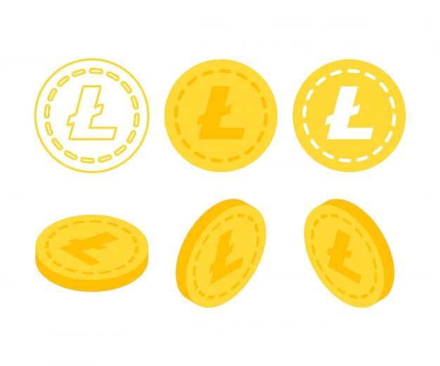 Set von icons litecoin-münzen