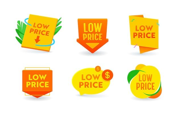 Set von icons niedrigpreis-promo-angebot, shopping und verkauf isolierte tags, kostensenkung, rabatt-label. preisnachlass-aktion