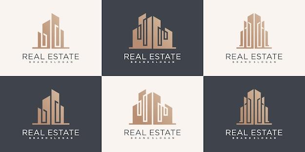 Set von immobilien-logo-design-kollektion mit modernem gebäudekonzept premium-vektor