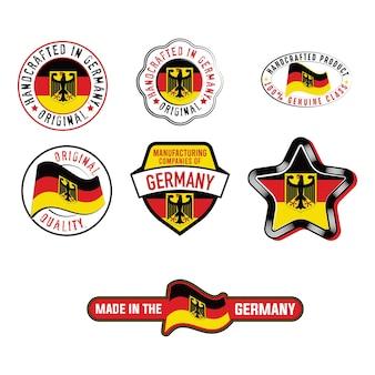Set von industrieetiketten mit deutschen flaggen-produktaufklebern