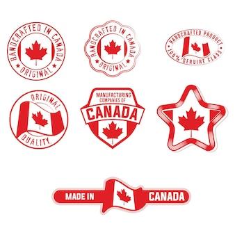 Set von industrieetiketten mit kanada-flaggen-produktaufklebern