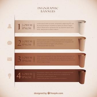 Set von infografischen bannern in braunen tönen