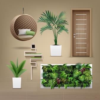 Set von innenmöbeln im öko-minimalismus-stil