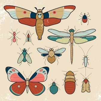 Set von insekten.