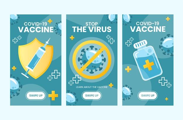 Set von instagram-geschichten der impfstoff-covid19-kampagne mit illustration