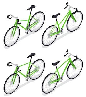 Set von isolierten sport-radsport-bildern von straßenfahrrädern cruiser-symbolen mit schatten auf weiß