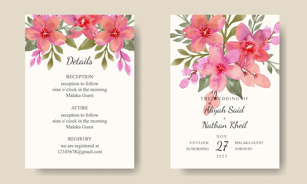 Set von jäten einladungskarte mit aquarell blumenstrauß hintergrund editierbar