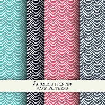 Set von japanischen welle nahtlose muster. zusammenfassung tinte drucken vektor hintergründe. blockieren sie gewebeeffekttapeten.