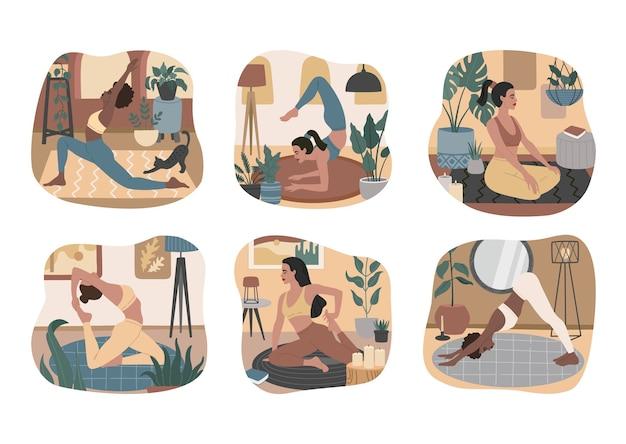 Set von jungen mädchen, die yoga-asanas machen, meditieren und sich in gemütlichen, komfortablen apartments entspannen. sammlung gesunder lebensgewohnheiten, körperpflege.