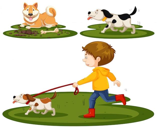 Set von jungen und hunden