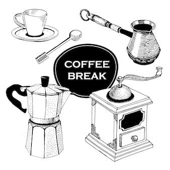 Set von kaffee-artikeln. hand gezeichnete weinlesevektorillustration.