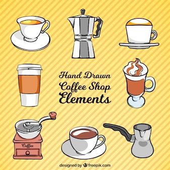 Set von kaffee und von hand gezeichnet kaffeezubehör