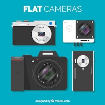 Set von kameras in flachem design