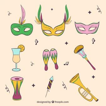 Set von karnevalsmasken und hand gezeichnete objekte