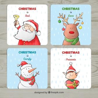 Set von karten mit weihnachtsfiguren
