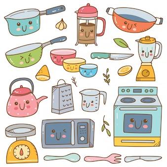 Set von kawaii küchengeräten