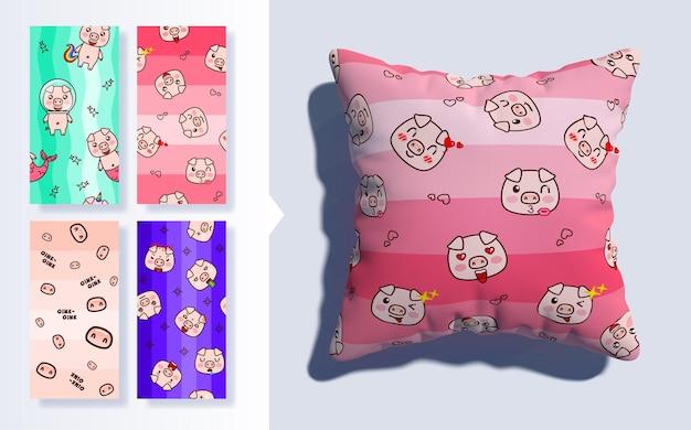 Set von kawaii nahtlosen muster mit niedlichen schweinen und 3d-kissen