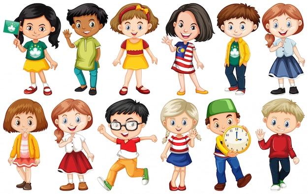 Set von kindern aus verschiedenen ländern
