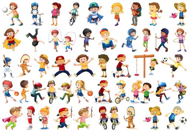 Set von kindern, die aktivitäten durchführen