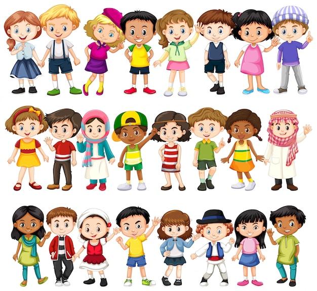 Set von kindern verschiedener rassen