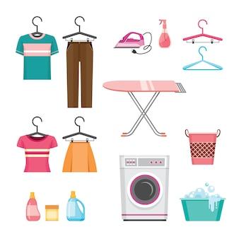 Set von kleidungsreinigungsgeräten, wäscherei, haushaltsgeräten